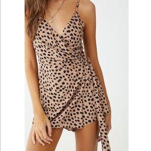 Cheetah Print Wrap Front Romper
